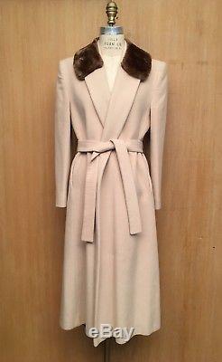 Vintage 100% Cashmere Wrap Coat Ivory Fur Fleurette California Belted Lined S 6