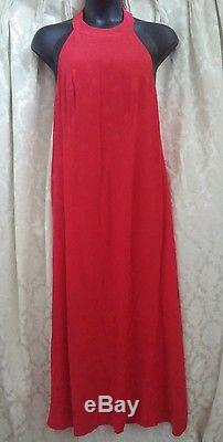 Vintage 100% Silk Women's Red Gown kaftan lined Size Large
