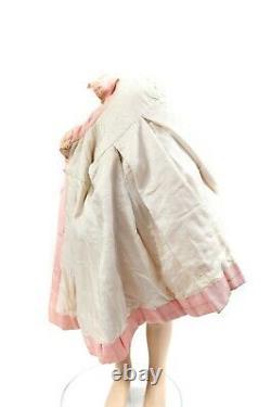 Vintage 1900s Girls Pink Silk Edwardian Mini Cape A Line Antique Dress Coat 4