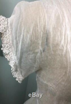 Vintage 1930's sheer cotton batiste front button A line dress