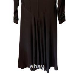 Vintage 1940's Designer Grovine NY Black Midi Cutout Sequin Dress A-Line Hi/Low