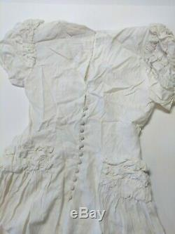 Vintage 1940's Ivory Party Lines Emma Domb Modest Dress Wedding Small Sized