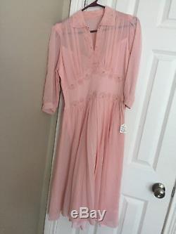 Vintage 1940's Pink Crepe Dress A-line