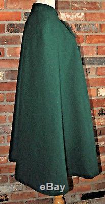 Vintage 1940s GREEN CAPE Wool COAT Cloak Coat CANADA Lined Arm Nurse