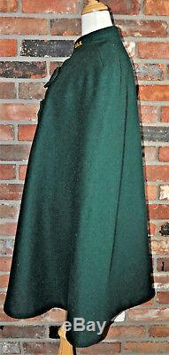 Vintage 1940s GREEN CAPE Wool COAT Cloak Coat CANADA Lined Arm Nurse Sorority