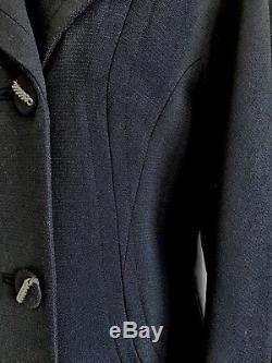 Vintage 1940s Sylvia Mills London Wool Coat Pleated Blue Lined WWII Era 36/6