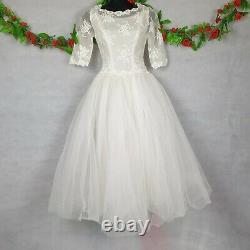 Vintage 1950s 1960s Fami Henri A Line Net Ballerina Wedding Dress Size 4 6