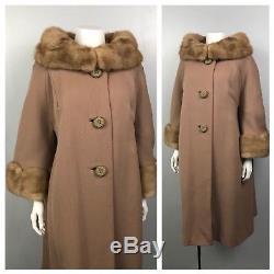 Vintage 1950s Caramel Wool A Line Swing Coat Fur Collar & Cuffs Scalloped XL