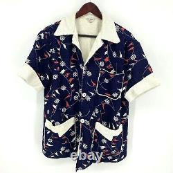 Vintage 1950s Terry Cloth Lined Pool Beach Swim Jacket Mal Marshall Sailing L