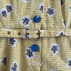 Vintage 1950s The Linzi Line Floral Print Cotton Full Skirt Dress UK8 10 W28