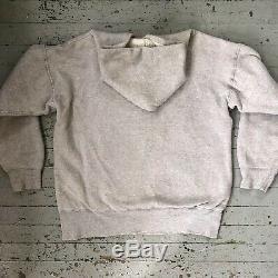 Vintage 1950s Thermal Lined Grey Hooded Sweatshirt L