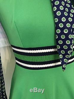 Vintage 1960's Mod Green Navy Mini A Line Dress Polka Dots Striped Pussybow