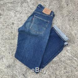 Vintage 1960s 60s Big E Levi Levis 501 Jeans 6 Button 30x34 Red line