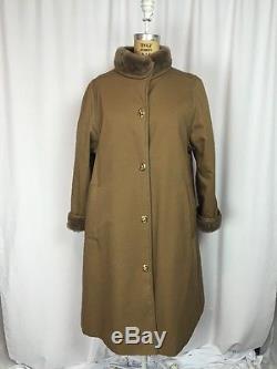 Vintage 1960s BONNIE CASHIN Faux Fur Lined Leather Trim Turnlock Coat. Size 8