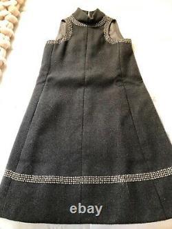 Vintage 1960s Geoffrey Beene Grey Wool Mod Shift A Line Dress with Rhinestones