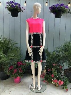 Vintage 1960s PIERRE CARDIN COLOR BLOCK A-LINE SUPER MOD DRESS Rhinestones 6ish