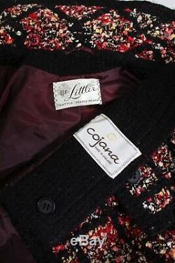 Vintage 1960s Suit English Wool Boucle Mod Jacket A-line Skirt Set Ensemble Larg