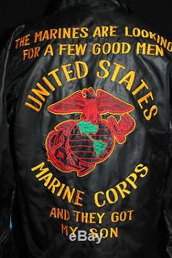 Vintage 1970's Black Heavy Nylon Lined Embroidered Marine Souvenir Jacket Sz M+