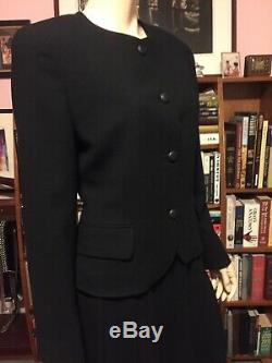 Vintage 1970s CHRISTIAN DIOR WOOL 2 Pc Suit PLEATED FLARED A LINE MIDI SKIRT