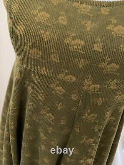 Vintage 1970s LAURA ASHLEY Boho Corduroy Empire Line Green Gold Dress Size 10