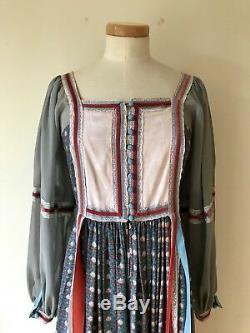 Vintage 1970s Rumak Sample Dress Linen Lace Silk Empire Line 70s Boho Prairie