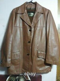 Vintage 1970s SEARS THE LEATHER SHOP Brown Lined Leather Jacket Men's Size 42