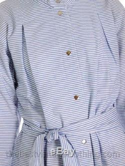 Vintage 1970s Vuokko Designer Blue and White Stripes Print A Line Shirt Dress Co