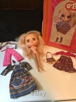 Vintage 1972 Kenner Blythe Blonde Doll 7 Line withTagged Original Dress