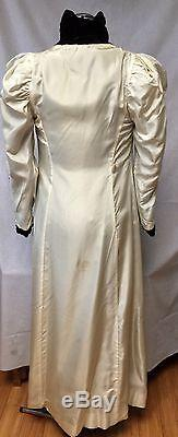 Vintage 20s 30s Dress Coat XS S Long Black Silk Velvet Full Lined Gown