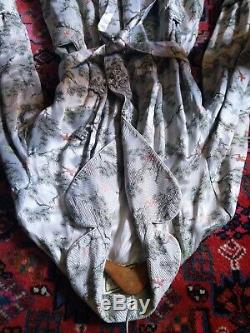 Vintage 40's Chinese Silver Pure Heavy Silk Satin Dressing Gown Lined UK 8-14