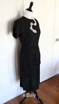 Vintage 40s 1940s Black Rayon Lace Peplum Art Deco A-Line Dress 27 W S/M