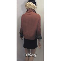 Vintage 40s 50s Gabardine Boyfriend Jacket XL XXL Art Deco Lined Coat Mocha Mens