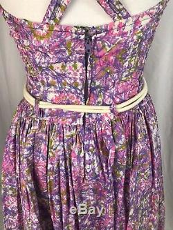 Vintage 40s 50s Psychadelic Pin Up Catalina Lined Belted Swim Suit Dress S/M