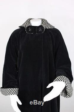 Vintage 50's reversible coat tweed wool velvet jacket hounds-tooth cape a-line