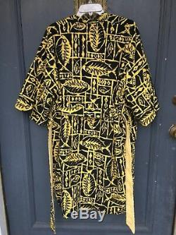 Vintage 50s 60s Mr. Teri Cabana Boy Terry Cloth Lined Robe Yellow Fish Hawaiian