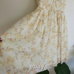Vintage 50s Autumn Floral Full Puffy Midi Dress M Cream Orange Yellow A-Line