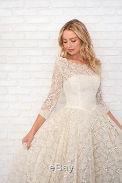 Vintage 50s Cream Lace Dress Sheer Scalloped Beaded Full A Line Cocktail Wedding