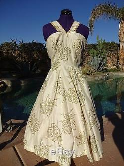 Vintage 50s dress ivory gold S/M evening cocktail pinup full skirt silk lined