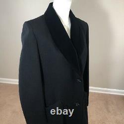 Vintage 60's Beau Brem Long Wool/Nylon Dress Coat Black Velvet Collar 10 USA