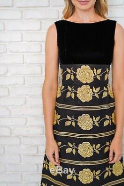 Vintage 60s Black Velvet Dress Gold Metallic Rose Floral Striped A Line Maxi XS