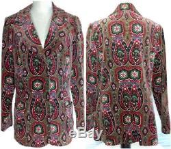 Vintage 60s H Cosentino Capri Italy Paisley Velvet Blazer Jacket Lined EUC Women