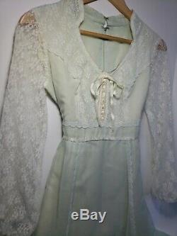 Vintage 60s Lace Long Sleeve Beaded Collar Gunne Sax Prairie Hippie Dress XS-S