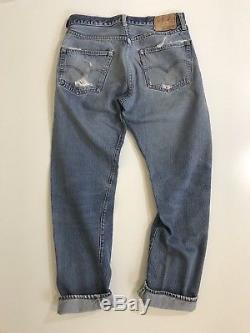 Vintage 60s Levis 501 Selvedge Red Line Denim Blue Jeans Big E original size 32
