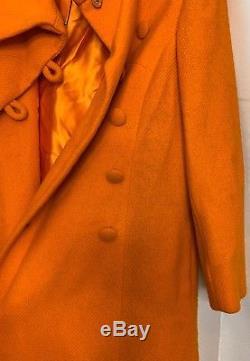 Vintage 60s Lilli Ann Orange A-Line Car Coat 3/4 Sleeve Swing Coat