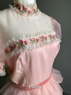 Vintage 70s 80s Gown Dress Pink Ruffle Floral Prom A-Line Cinderella Small 2 #R