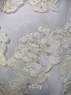Vintage 70s Bohemian Victorian A Line Lace Chiffon High Neck Wedding Dress