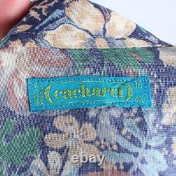 Vintage 70s Cacharel Blue Multi A-Line Floral Button Up Midi Shirt Dress 10