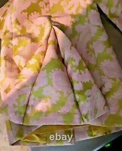 Vintage 70s Custom Made Lined Pink and Lime Green Sleeveless Dress & Swing Coat