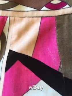 Vintage 70s Emilio Pucci Pink Velvet A Line Knee Length Skirt 2/4