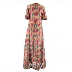 Vintage 70s Handmade Pure Dupion Silk Empire Waist Maxi Dress 12 14